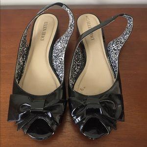 ELLEN TRACY 'Emely' Peep Toe Slingback Flats 9.5